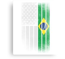 Brazilian American Flag - Half Brazilian Half American Canvas Print