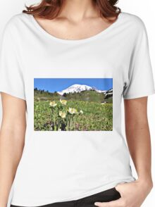 Mountain Pasqueflowers - Mount Rainier Women's Relaxed Fit T-Shirt
