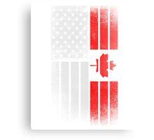 Canadian American Flag - Half Canadian Half American  Canvas Print