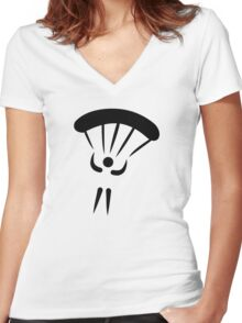 Skydiving parachute Women's Fitted V-Neck T-Shirt