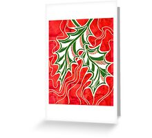 Miniature Aussie Tangle 020 in Xmas Red Green White and Gold Greeting Card