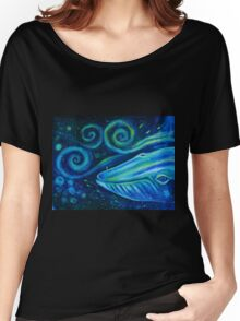 Big blue whale into the space of Universe with silhouette of man. Women's Relaxed Fit T-Shirt