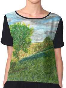 Illinois Farmland Oil Pastel Chiffon Top