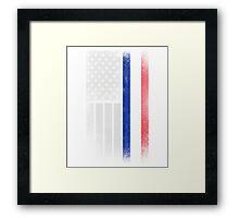French American Flag - Half French Half American Framed Print