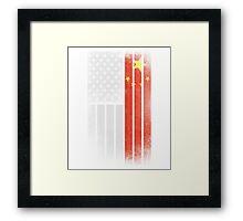 Chinese American Flag - Half Chinese Half American Framed Print