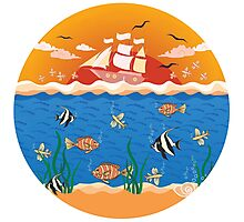 illustration with fishes and ship Photographic Print