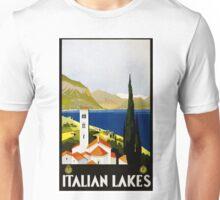 Vintage Italian Lakes Italy Travel Poster Unisex T-Shirt