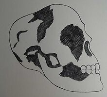 Black and White Skull  by faith-in-ink