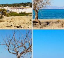 Photo collage with images of Chrissi Island, near Crete, Greece Sticker