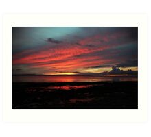 Enniscrone, in Red and Blue. Art Print