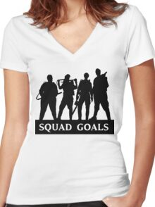 Ghostbusters 2016 Squad Goals Women's Fitted V-Neck T-Shirt