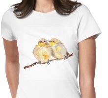 Two little birds sit together Womens Fitted T-Shirt