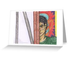 Angry Man Peering around Easel Greeting Card