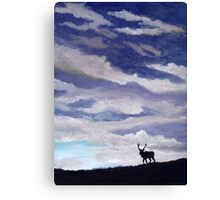 Elk silhouette against setting sky  Canvas Print