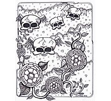 Flying skulls and flowers Photographic Print