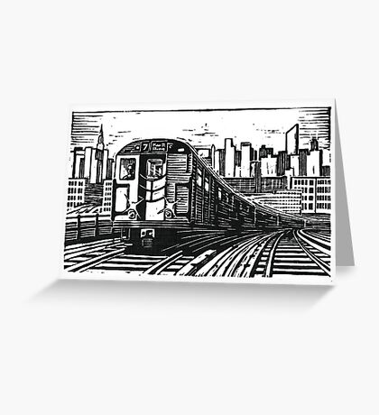 New York Subway Train Greeting Card
