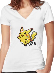 Catch Em All - Number 25 - Pikachu Women's Fitted V-Neck T-Shirt