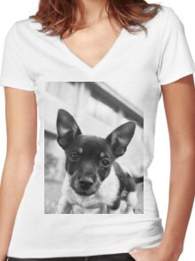 Puppy Women's Fitted V-Neck T-Shirt