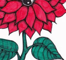 Yin Yang Red flower snake Sticker