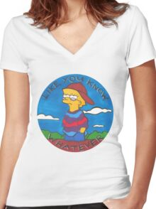 Colourful Cartoon Women's Fitted V-Neck T-Shirt