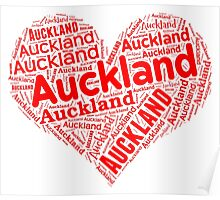 Auckland - Red Heart Poster