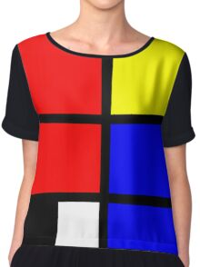 Mondrian style design in basic colors Chiffon Top