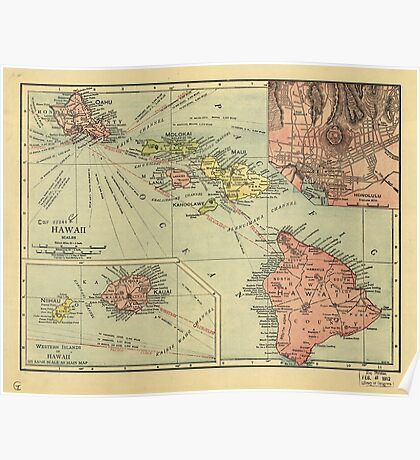 Vintage Map of Hawaii (1912) Poster
