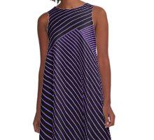 Line Art - Geometric Illusion, abstraction purple A-Line Dress