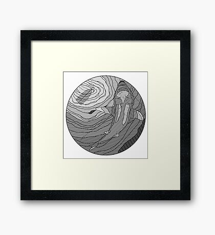 Jaws Line drawing Framed Print