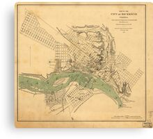 Map of the city of Richmond, Virginia (1858-1864) Canvas Print