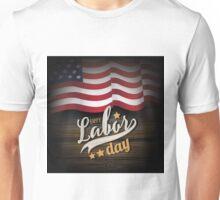 Labor Day wooden American flag design.  Unisex T-Shirt