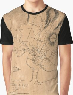 Vintage Map of Honolulu Hawaii (1887) Graphic T-Shirt