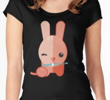 Cute winking bunny rabbit ball of yarn crochet hook Women's Fitted Scoop T-Shirt