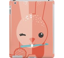 Cute winking bunny rabbit ball of yarn crochet hook iPad Case/Skin