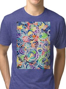 Easter Sunrise Swirls Twirling Eggs Colors Yellow Orange Green Turquoise Blue Purple Violet Shapes Abstract Tri-blend T-Shirt