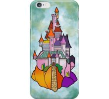 Beauty and the beast castle green blue illustration iPhone Case/Skin