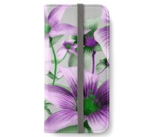 Lilies Collage Art in Green and Violet Colors iPhone Wallet/Case/Skin
