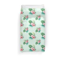 Tropical watercolor flowers pattern Duvet Cover
