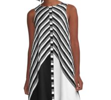 Black and White Geometric A-Line Dress