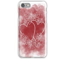 Red heart flowers illustration iPhone Case/Skin
