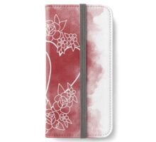Red heart flowers illustration iPhone Wallet/Case/Skin