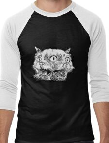 Trippy Cat - Black & White Men's Baseball ¾ T-Shirt