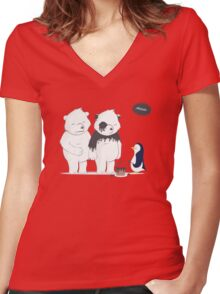 Penguin Become To Panda Women's Fitted V-Neck T-Shirt