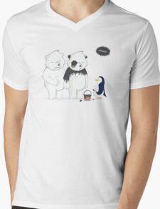 Penguin Become To Panda Mens V-Neck T-Shirt
