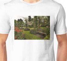 It is Raining Rose Petals - Queen Mary Gardens on a Rainy London Day Unisex T-Shirt