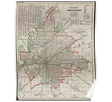 Vintage Map of Indianapolis Indiana (1921) Poster
