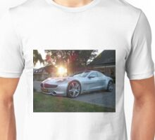 2012 Fisker Karma electric supercar against a sunset Unisex T-Shirt
