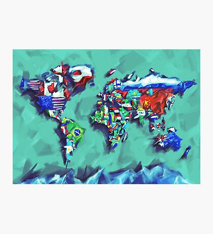 world map flags Photographic Print