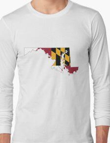 Maryland Flag [Blk]   State Line   SteezeFSC Long Sleeve T-Shirt