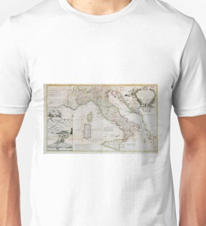 Vintage Map of Italy (1714) Unisex T-Shirt
